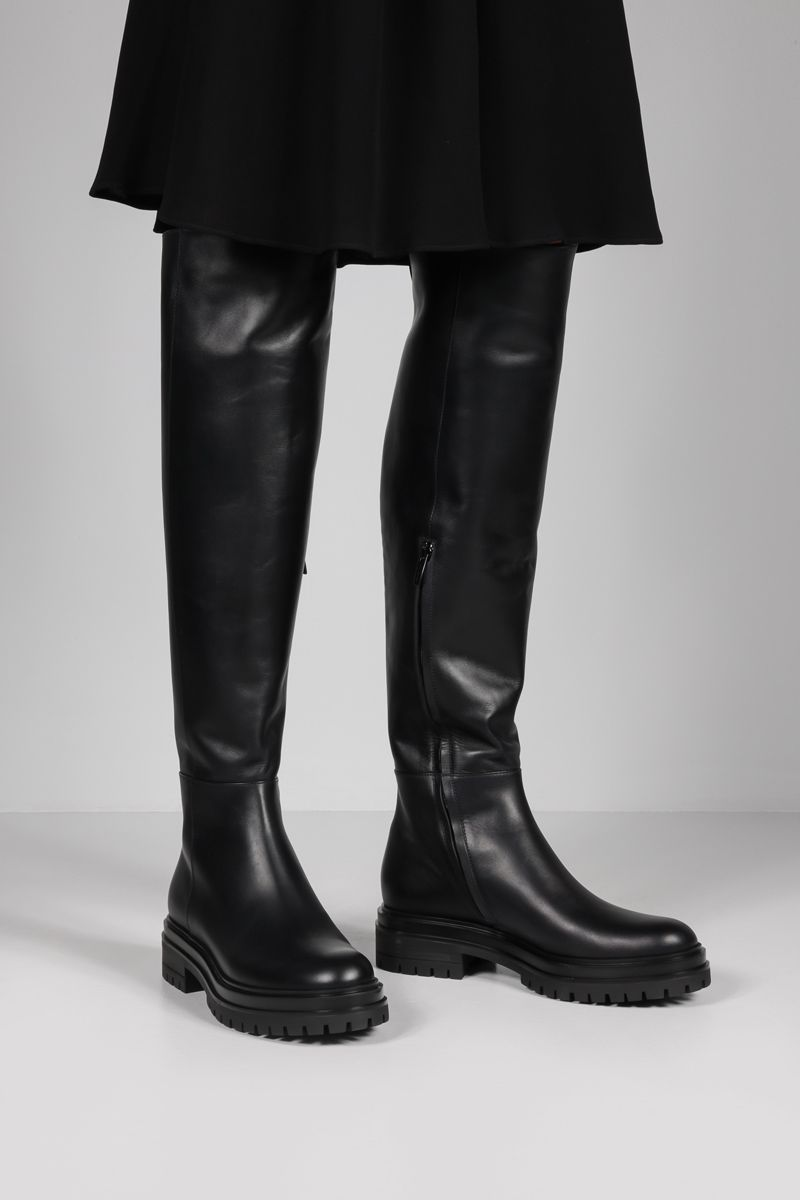 GIANVITO ROSSI: Quinn smooth leather over-the-knee boots Color Black_2