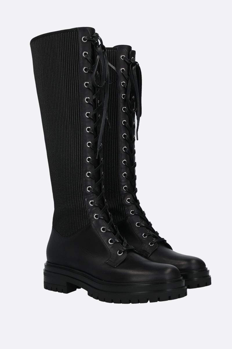 GIANVITO ROSSI: Martis leather lace-up boots Color Black_2