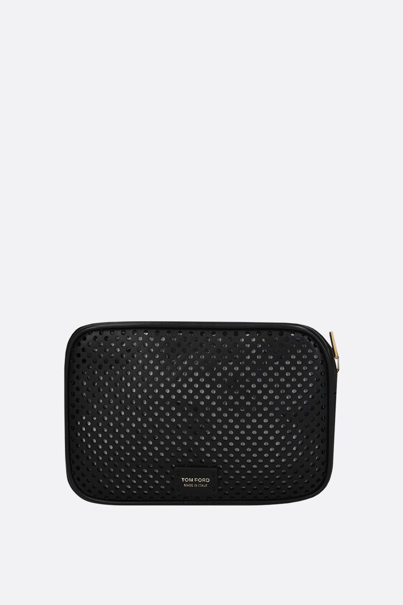 TOM FORD: borsa a tracolla T Twist in pelle traforata Colore Nero_2