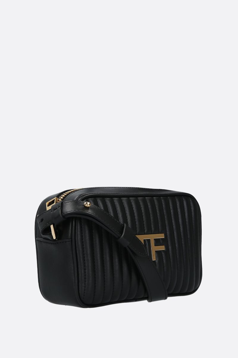 TOM FORD: borsa a tracolla TF in pelle matelassè Colore Nero_2