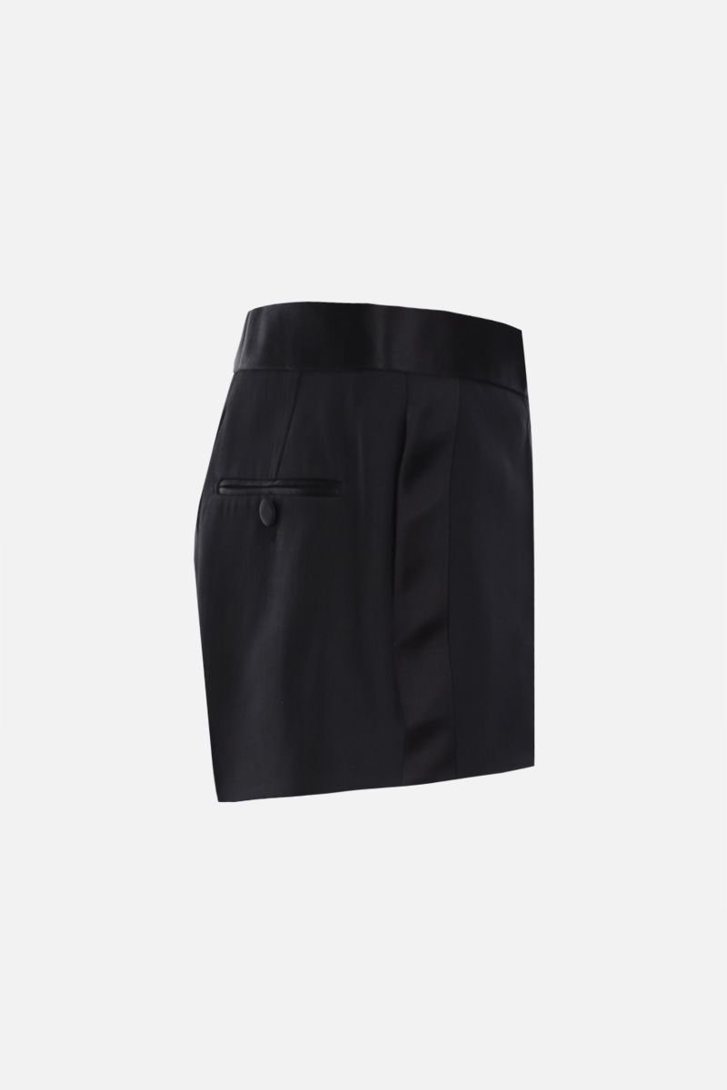 TOM FORD: wool silk blend tuxed shorts Color Black_2