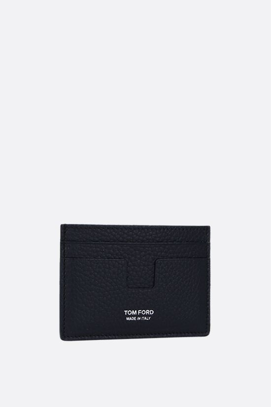 TOM FORD: T-line card case in grainy leather Color Blue_2