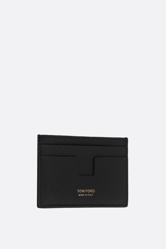 TOM FORD: porta carte T Line in pelle martellata Colore Nero_2