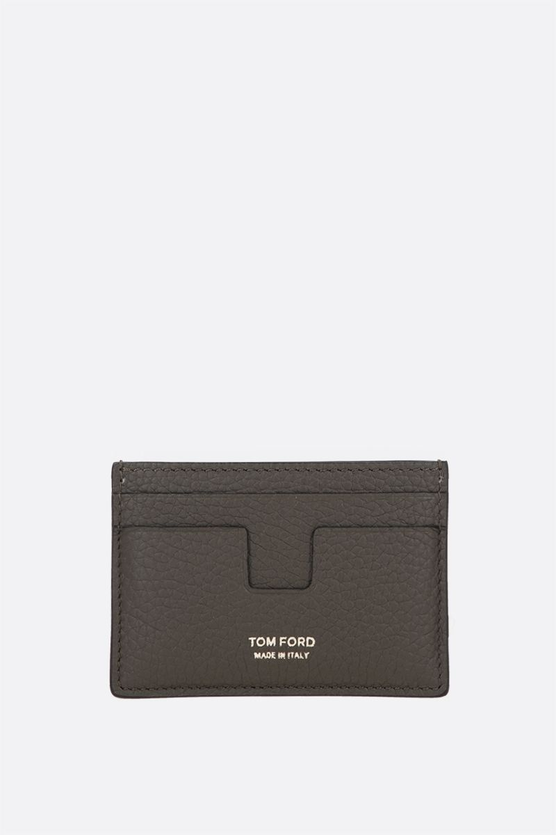 TOM FORD: T Line grainy leather card case Color Green_1