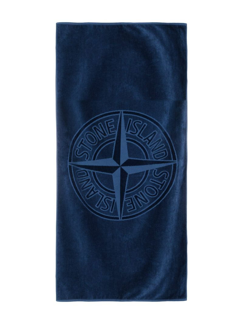 STONE ISLAND JUNIOR: logo-detailed terrycloth beach towel Color Blue_2