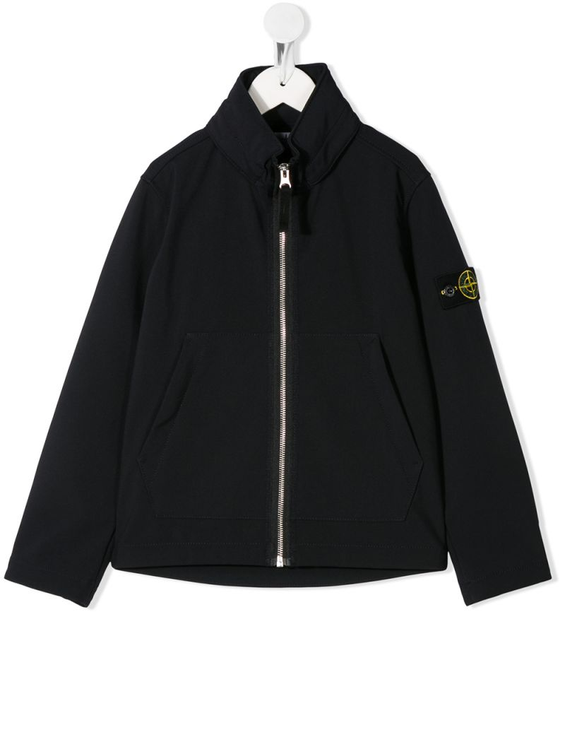 STONE ISLAND JUNIOR: logo badge-detailed nylon full-zip jacket Color Blue_1