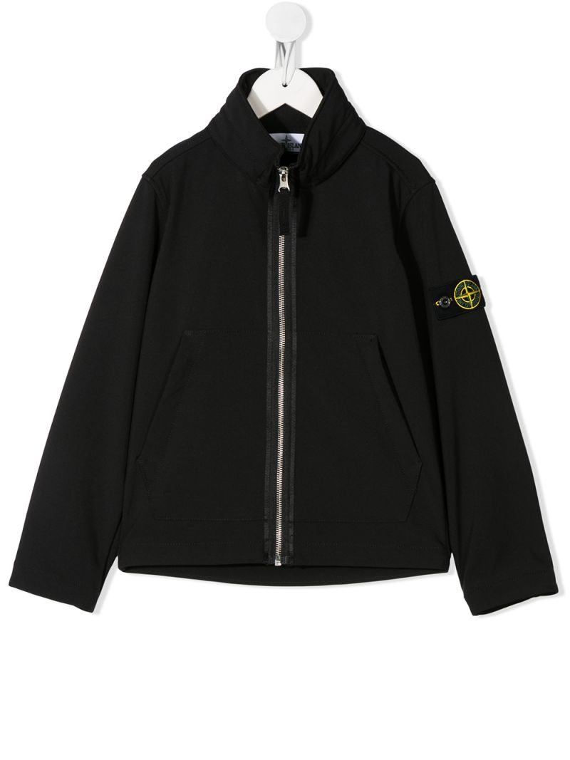 STONE ISLAND JUNIOR: logo badge-detailed nylon full-zip jacket Color Black_1