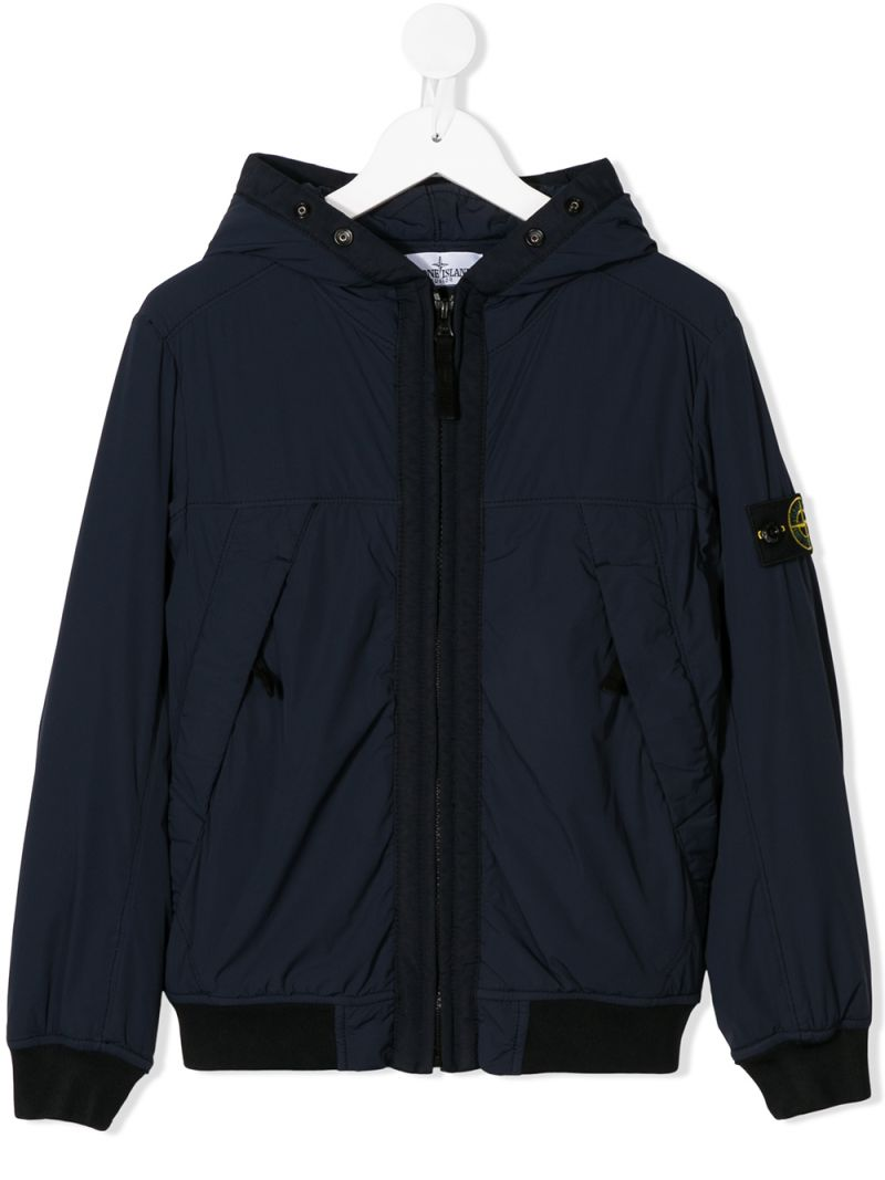 STONE ISLAND JUNIOR: logo badge-detailed technical fabric full-zip jacket Color Blue_1