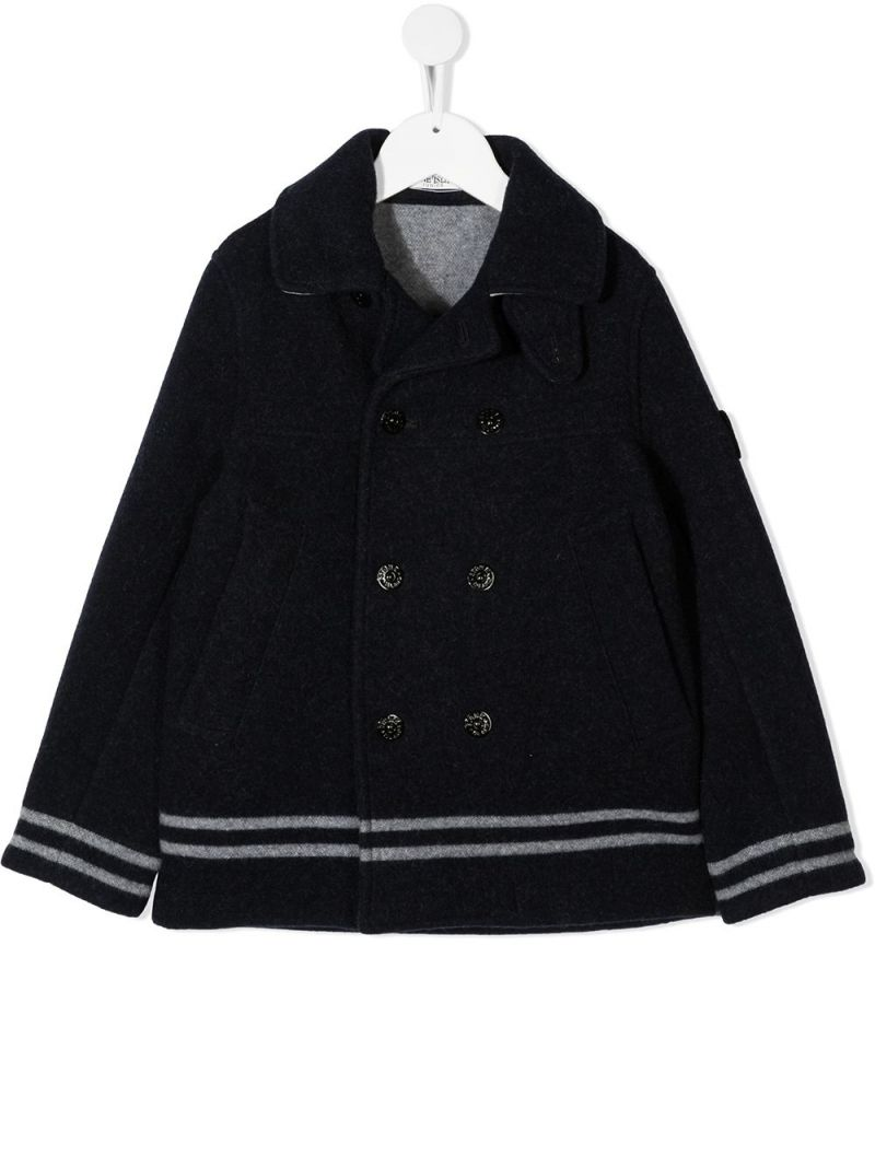 STONE ISLAND JUNIOR: double-breasted wool blend coat Color Blue_1
