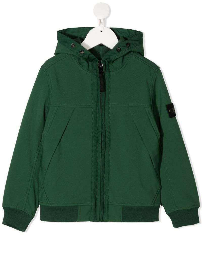 STONE ISLAND JUNIOR: logo badge-detailed technical cotton full-zip jacket Color Green_1