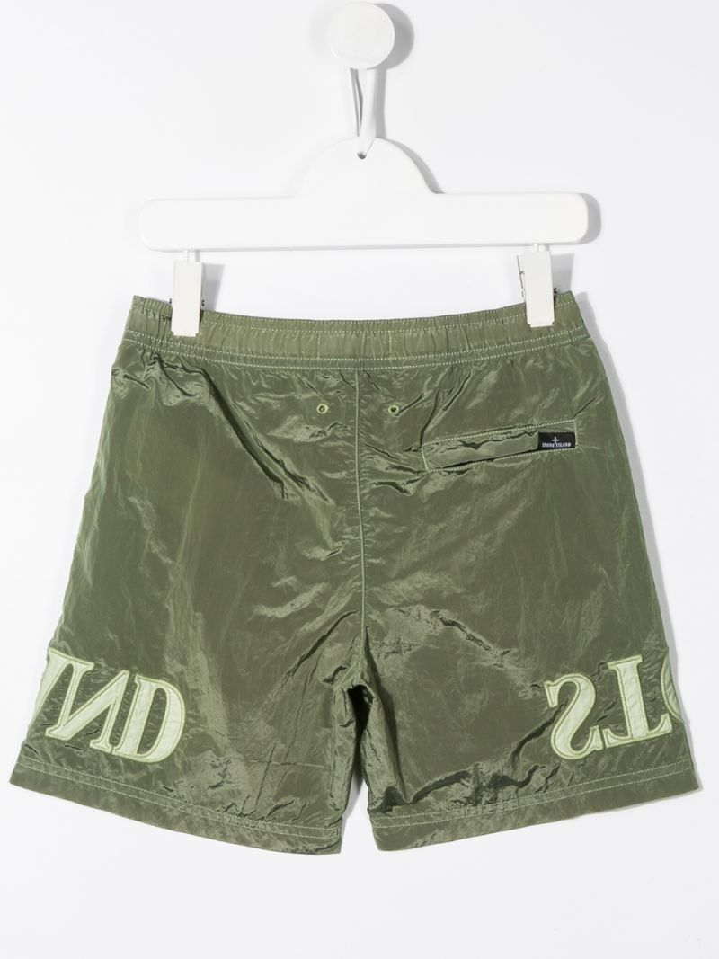 STONE ISLAND JUNIOR: logo embroidered nylon swim shorts Color Green_2