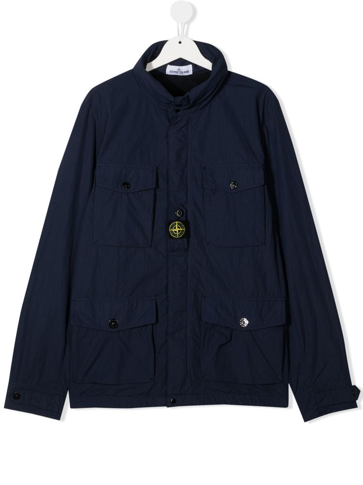 STONE ISLAND JUNIOR: technical cotton parka Color Blue_1