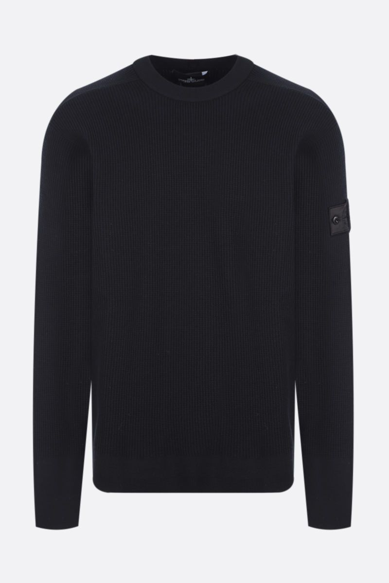 STONE ISLAND SHADOW PROJECT: logo badge-detailed ribbed wool blend pullover Color Black_1