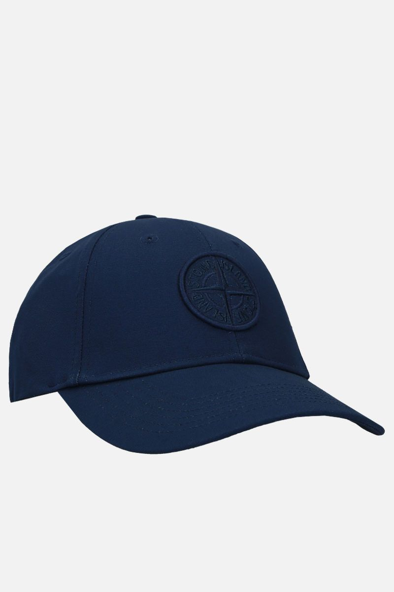STONE ISLAND: logo-embroidered gabardine baseball cap Color Blue_2