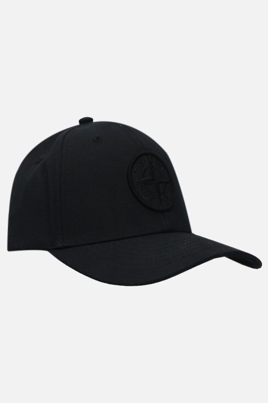 STONE ISLAND: logo-embroidered canvas baseball cap Color Black_2