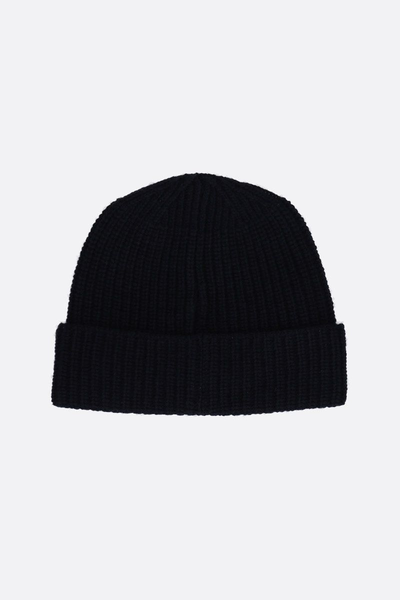 STONE ISLAND: logo patch ribbed wool beanie Color Blue_2