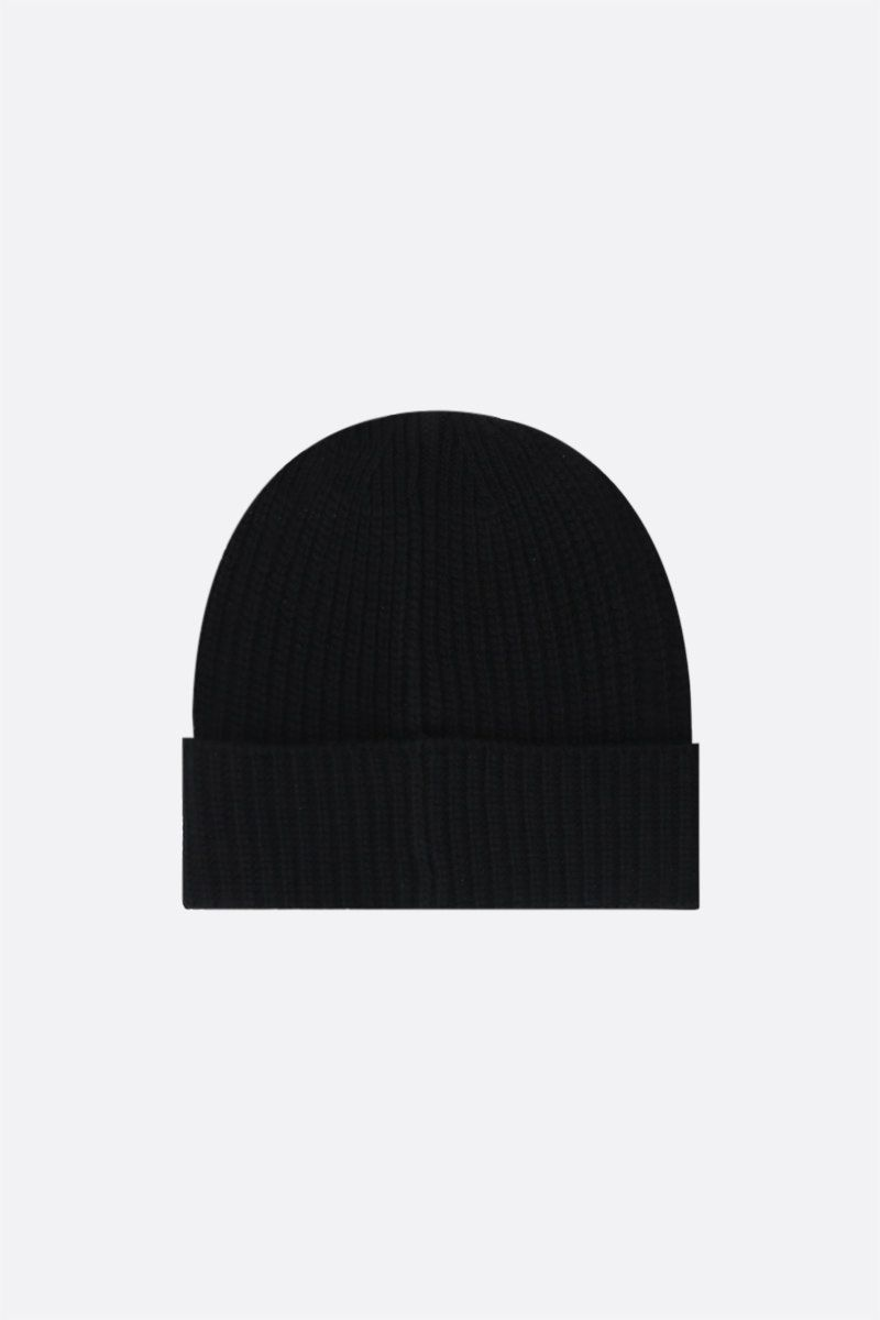 STONE ISLAND: logo patch ribbed wool beanie Color Black_2