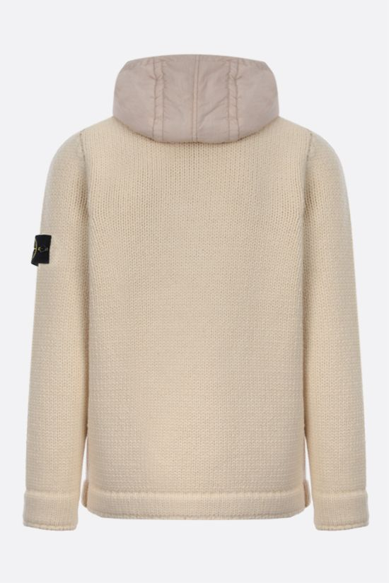 STONE ISLAND: double-breasted technical wool cardigan Color White_2