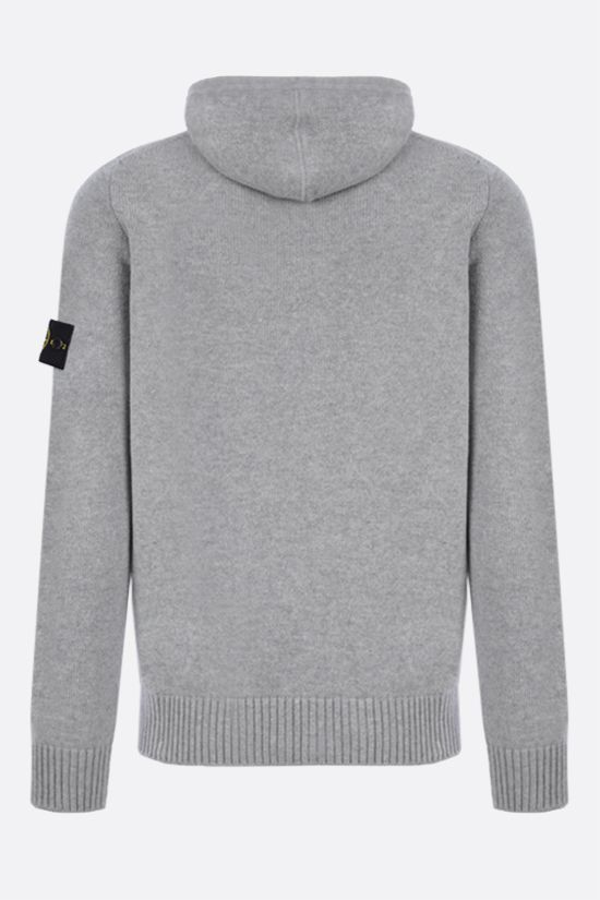 STONE ISLAND: logo badge-detailed technical wool pullover Color Grey_2