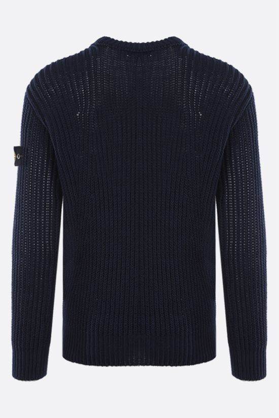 STONE ISLAND: logo badge-detailed ribbed knit pullover Color Blue_2
