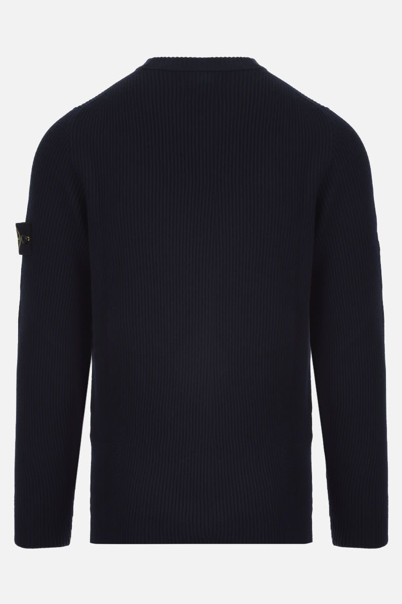 STONE ISLAND: logo badge-detailed ribbed wool pullover Color Blue_2