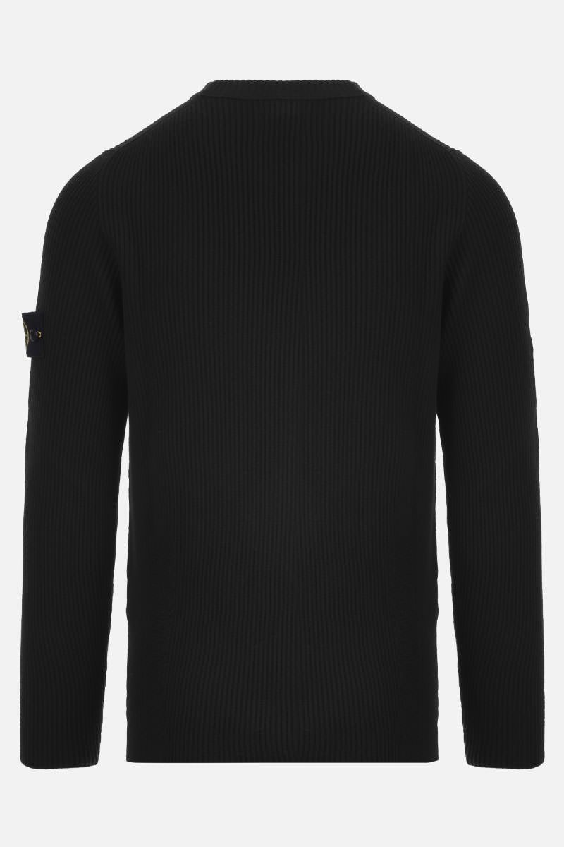 STONE ISLAND: logo badge-detailed ribbed wool pullover Color Black_2