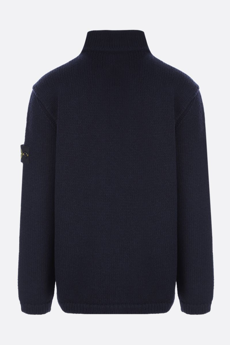 STONE ISLAND: logo badge-detailed wool blend pullover Color Blue_2