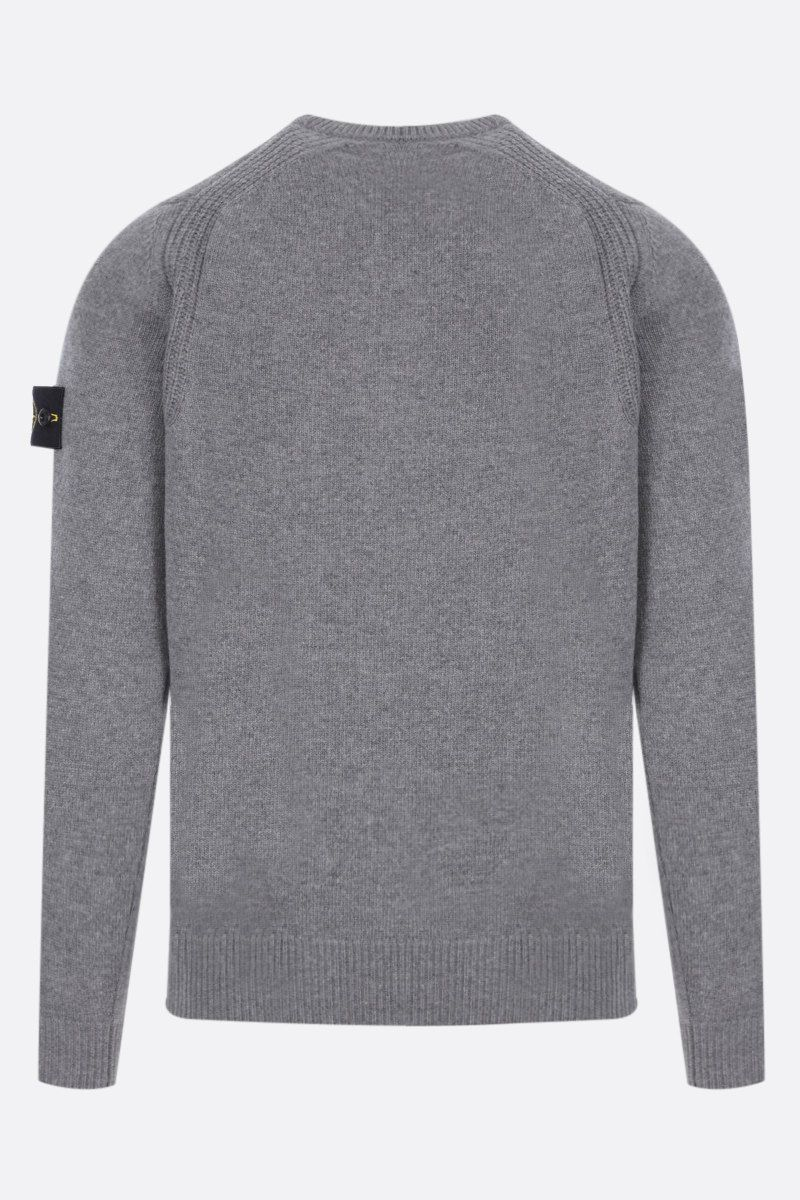 STONE ISLAND: logo badge-detailed wool blend pullover Color Grey_2