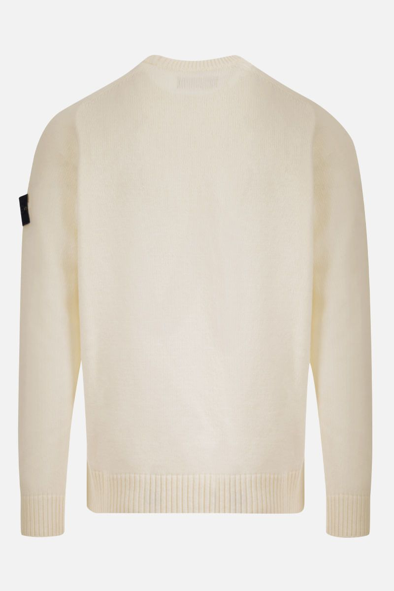 STONE ISLAND: logo badge-detailed wool blend pullover Color White_2