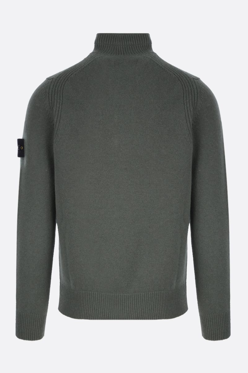 STONE ISLAND: logo badge-detailed wool blend pullover Color Green_2