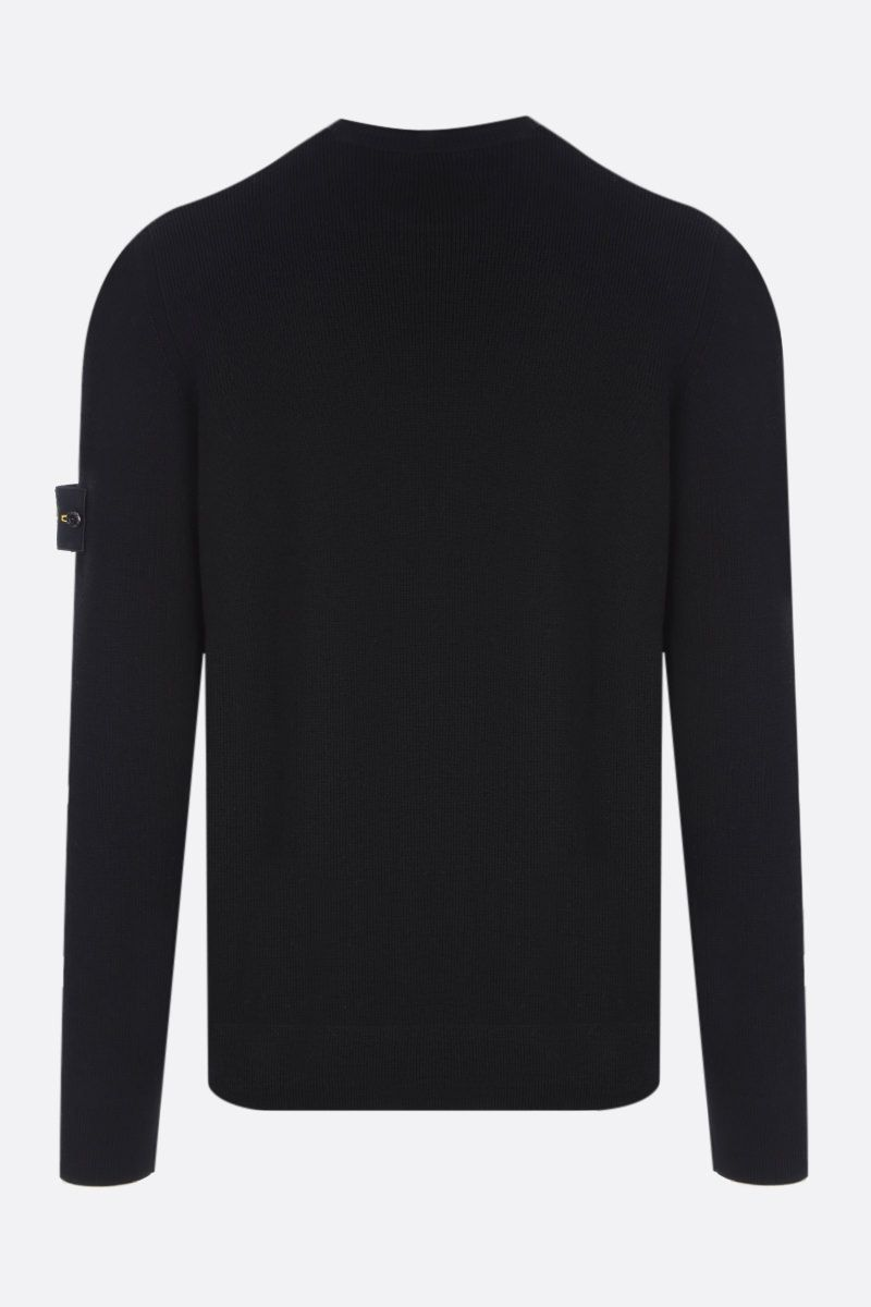 STONE ISLAND: logo badge-detailed wool pullover Color Black_2