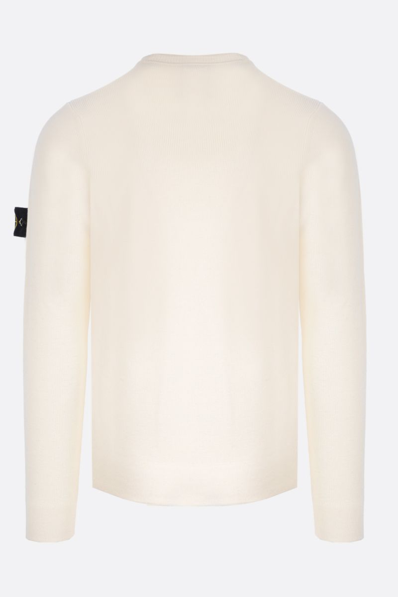 STONE ISLAND: logo badge-detailed wool pullover Color Neutral_2