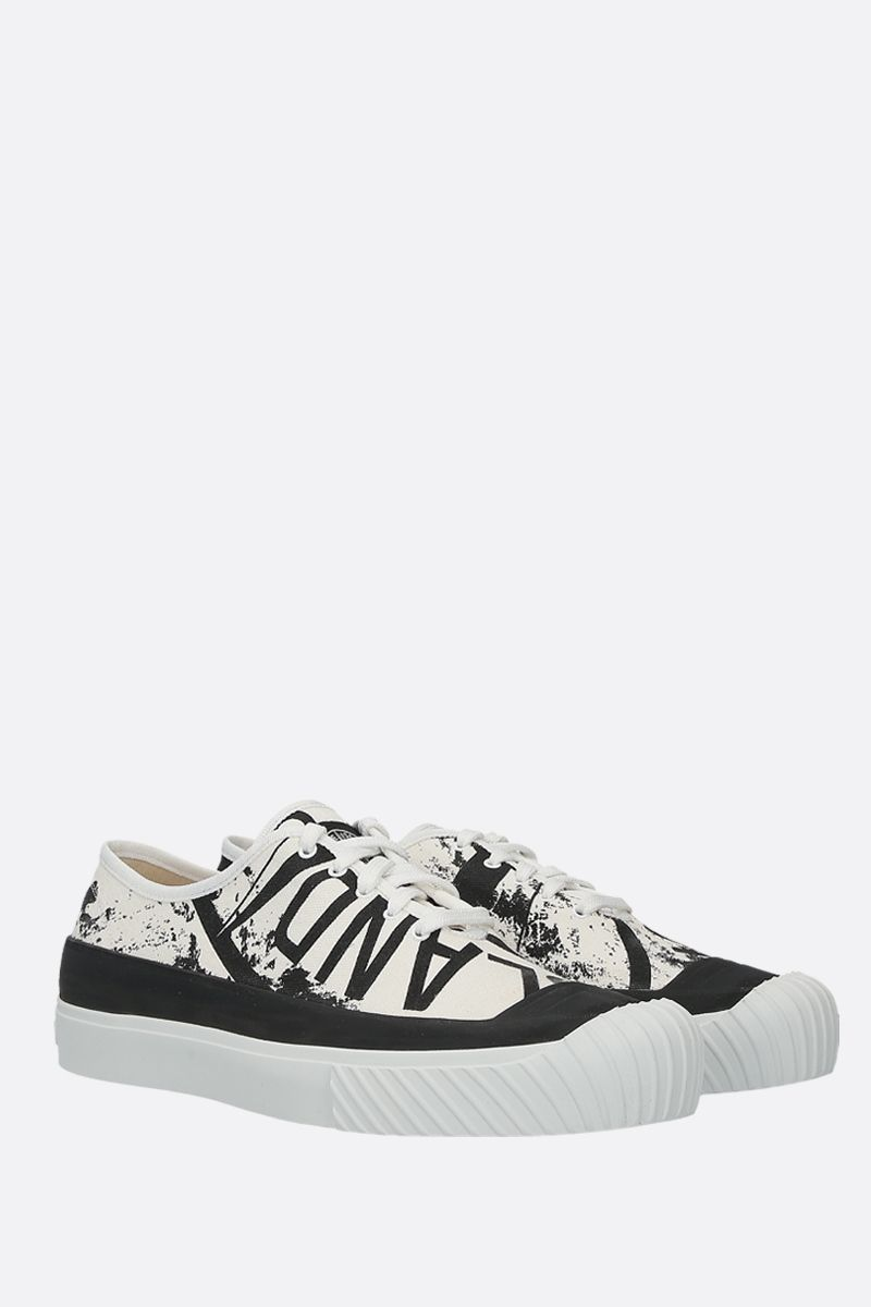 STONE ISLAND: sneaker low-top in canvas stampa grafica Colore Nero_2