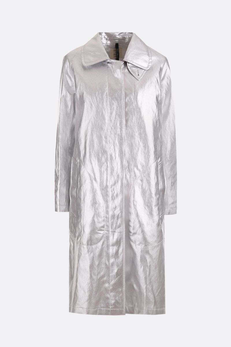 SANTONI: laminated canvas single-breasted car coat Color Silver_1