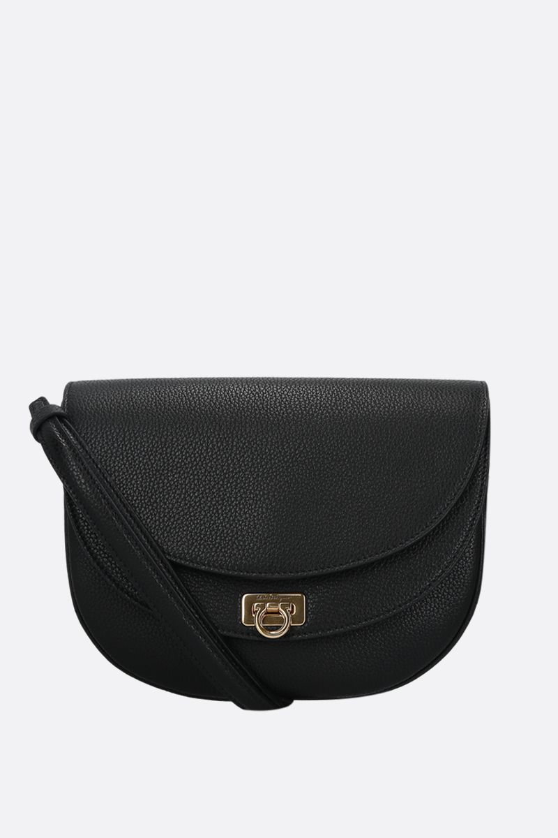 SALVATORE FERRAGAMO: Travelfl grainy leather crossbody bag Color Black_1