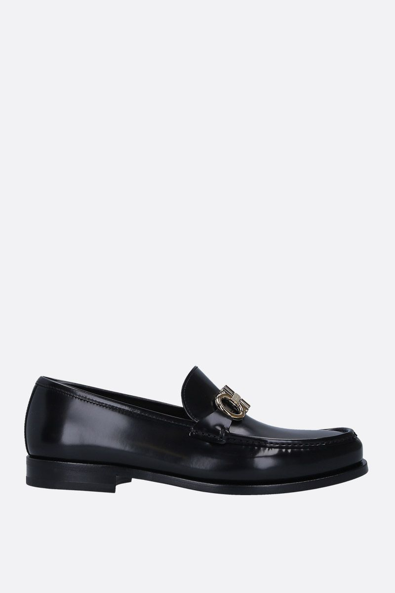 SALVATORE FERRAGAMO: Rolo loafers in shiny leather Color Black_1