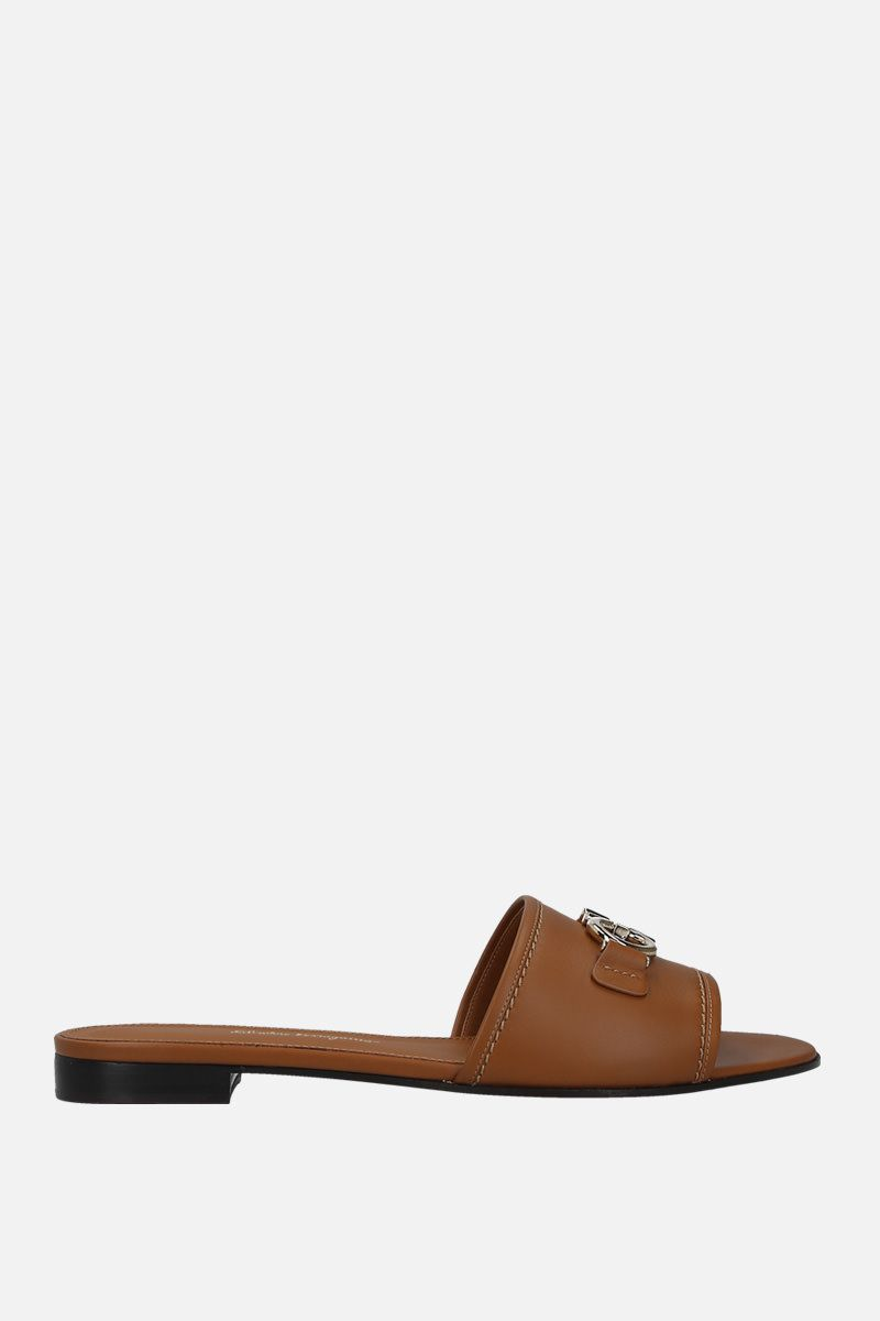 SALVATORE FERRAGAMO: Rhodes smooth leather slide sandals Color Brown_1