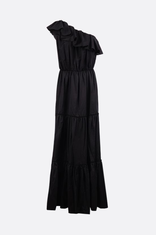 FEDERICA TOSI: one-shoulder cotton silk blend dress Color Black_1