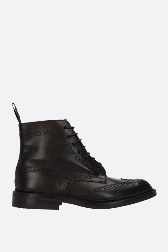 TRICKER'S: Stow shiny leather country boots Color Brown_1