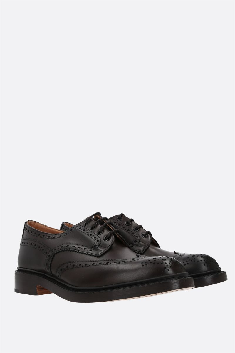 TRICKER'S: Bourton shiny leather derby shoes Color Brown_2