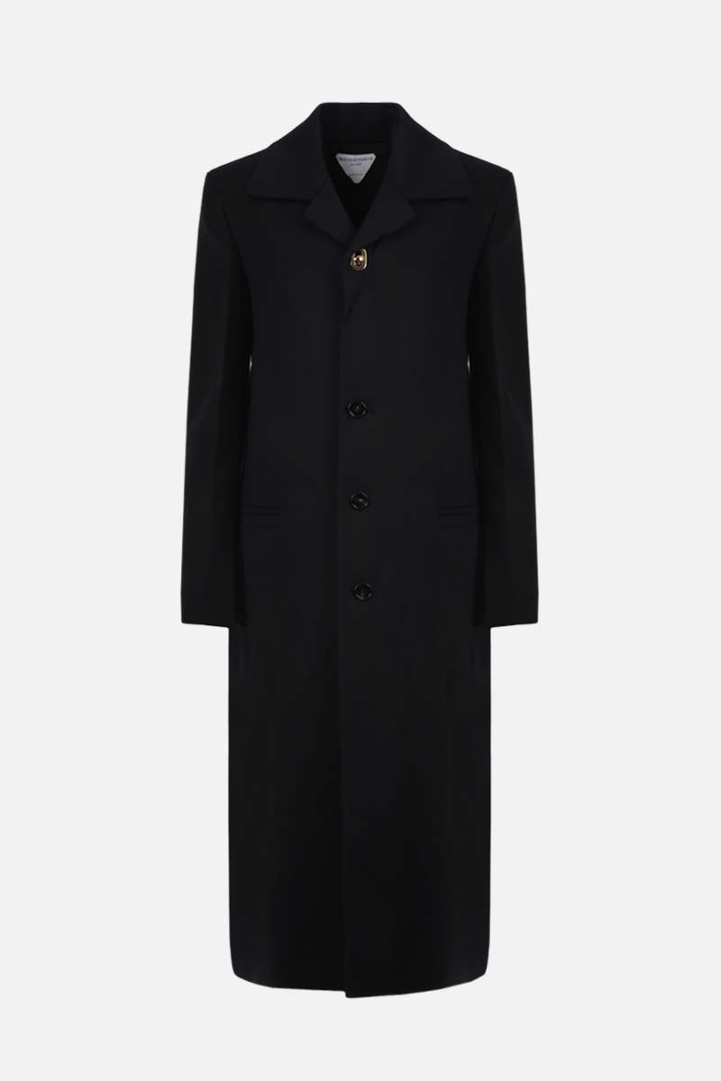 BOTTEGA VENETA: single-breasted stretch twill coat Color Black_1