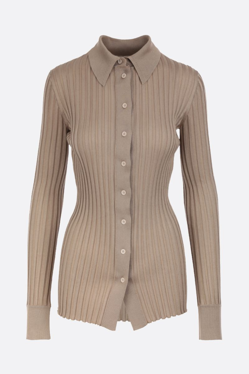BOTTEGA VENETA: ribbed silk cardigan Color Gold_1