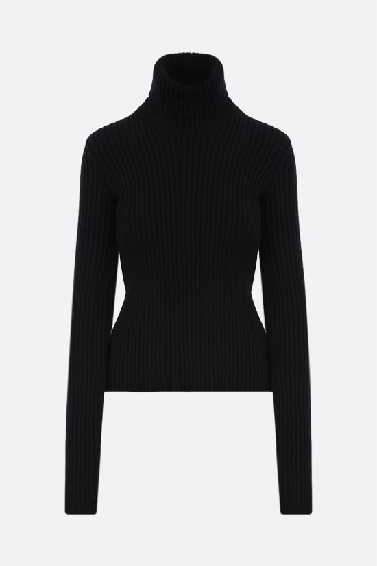BOTTEGA VENETA: ribbed wool blend turtleneck Color Black_1