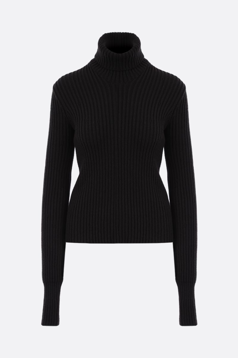 BOTTEGA VENETA: ribbed wool blend turtleneck Color Brown_1