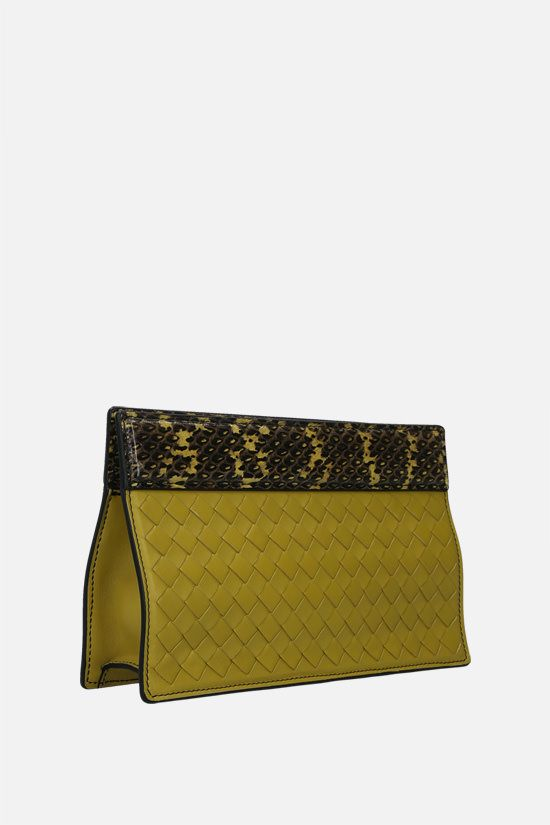 BOTTEGA VENETA: Intrecciato leather and snake leather clutch Color Green_2