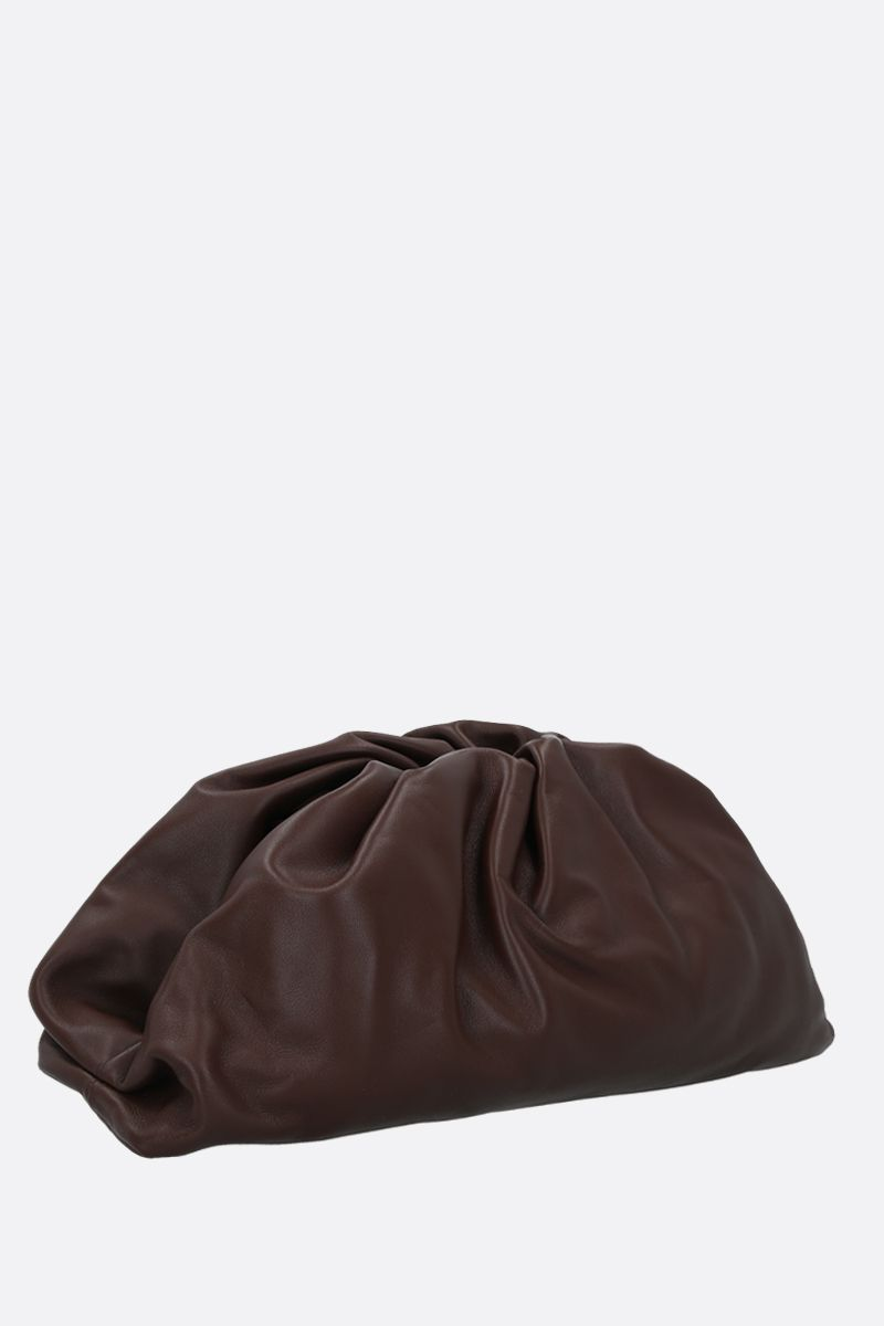BOTTEGA VENETA: The Pouch smooth leather clutch Color Brown_2