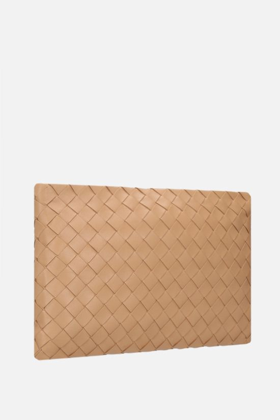 BOTTEGA VENETA: large Biletto pouch in Intrecciato nappa Color Neutral_2