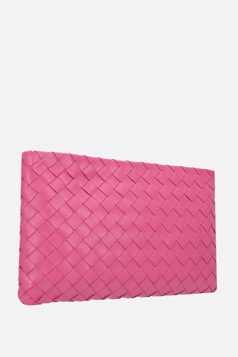 BOTTEGA VENETA: Billeto large pouch in Intrecciato nappa Color Pink_2