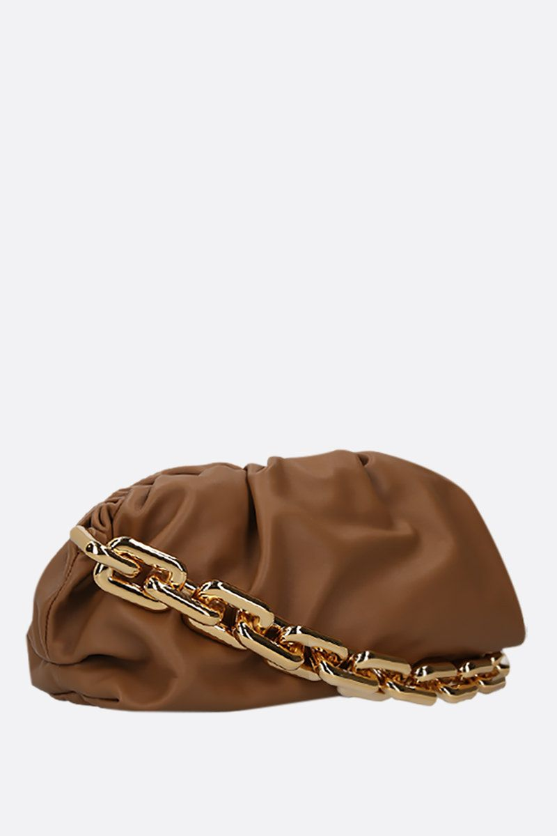 BOTTEGA VENETA: The Chain Pouch smooth leather clutch Color Brown_2
