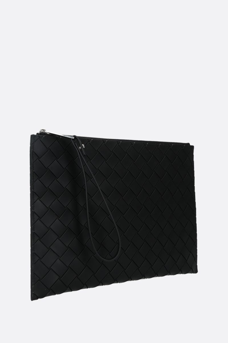 BOTTEGA VENETA: embossed Intrecciato medium clutch Color Black_2